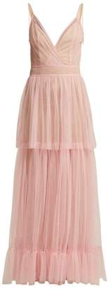 STAUD Mandy Tiered Tulle Dress - Womens - Pink