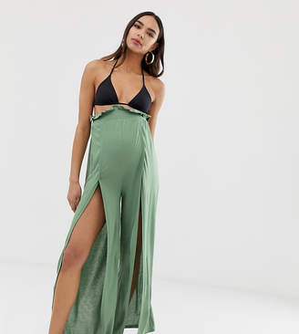 Asos DESIGN Maternity jersey beach split front trousers with paperbag waist in khaki