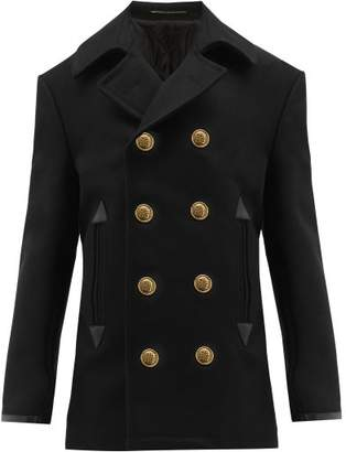 Givenchy Leather Cuff Wool Blend Peacoat - Mens - Black