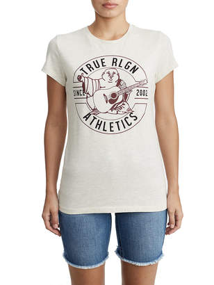 True Religion WOMENS CRYSTAL EMBELLISHED BUDDHA GRAPHIC TEE