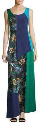 Diane von Furstenberg Sleeveless Scoop-Neck 2-Layer A-line Dress