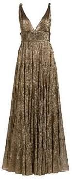 Oscar de la Renta Crinked Metallic A-lined Gown