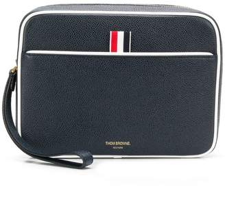 Thom Browne Wrist Strap Pebbled Leather Dopp Kit