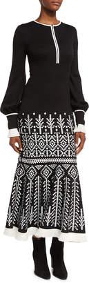 Andrew Gn Geometric-Print Half-Zip Blouson Midi Dress
