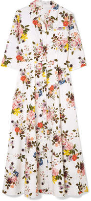 Erdem Kasia Floral-print Cotton-poplin Midi Dress - White