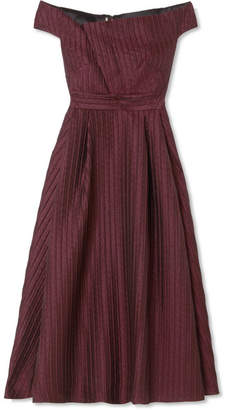 Roland Mouret Bentham Off-the-shoulder Metallic Plissé-organza Midi Dress - Grape