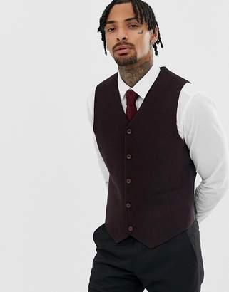 Asos Design Skinny Texture Vest In Burgundy Wool Mix