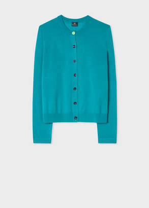Paul Smith Women's Turquoise Merino Wool Cardigan With Openwork Cuff