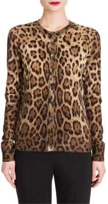 Dolce & Gabbana Leopard Print Cashmere& Silk Cardigan