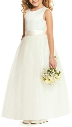 Dessy Collection Satin & Tulle Flower Girl Dress