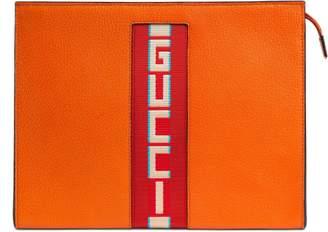 Gucci stripe leather pouch