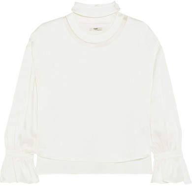 Fendi - Mesh-trimmed Satin Blouse - White