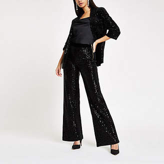 River Island Black velvet sequin wide leg pants