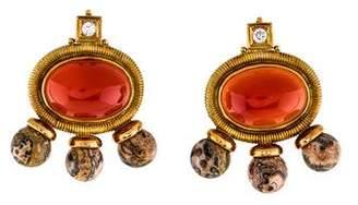 Elizabeth Gage 18K Carnelian, Diamond, & Leopard Jasper Clip-On Earrings