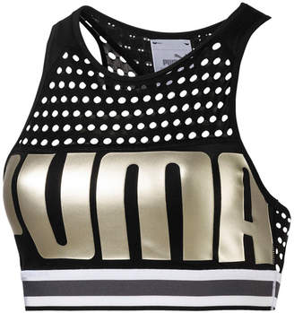 Puma High-Neck Racerback Mid-Impact Sports Bra