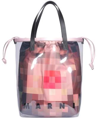 Marni Pvc Shopping Bag With Inner Pixel Grace Print Bag