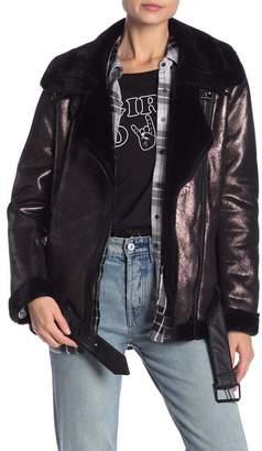 Bagatelle Metallic Faux Leather & Faux Fur Biker Jacket