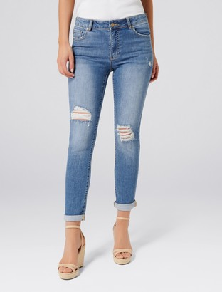 Forever New Emmy Mid-Rise Girlfriend Jeans - Brixton Blue - 14