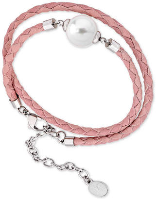 Majorica Silver-Tone Imitation Pearl Braided Leather Double-Wrap Bracelet