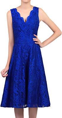 Jolie Moi Scalloped Lace Prom Dress, Royal Blue