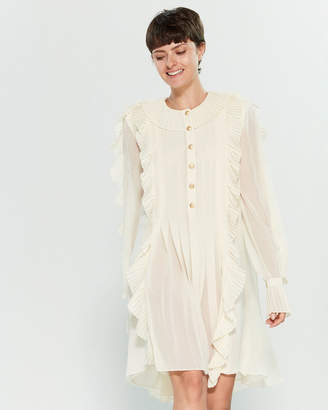Philosophy di Lorenzo Serafini Pleated Ruffle Long Sleeve Chiffon Dress