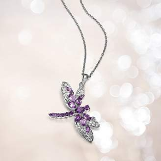 Sterling Silver Genuine African and Brazilian Amethyst with White Topaz Dragonfly Pendant Necklace
