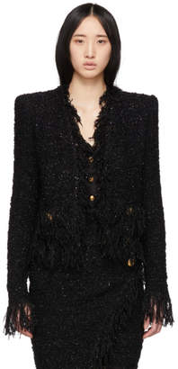Balmain Black Collarless Fringed Blazer