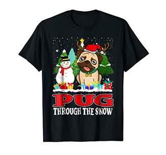 Pug Through The Snow Christmas Pajamas Gift Tshirt