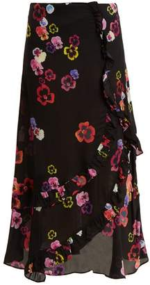 Preen Line Hattie Pansy Print Crepe Skirt - Womens - Black Multi