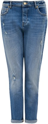 Forever New Elliot Mid Rise Drop Crotch Jean - Classic Vintage Distress - 12