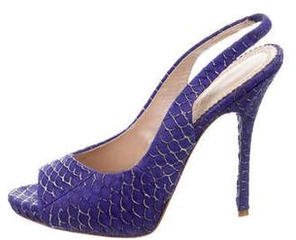Jean-Michel Cazabat Embossed Slingback Pumps