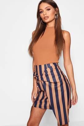 boohoo Tie Front Tonal Stripe Mini Skirt