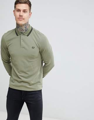 Fred Perry long sleeve twin tipped polo in light khaki
