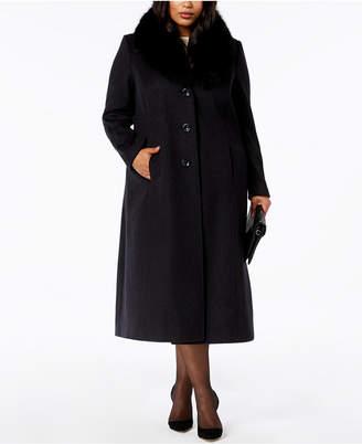 Forecaster Plus Size Fur-Collar Maxi Coat