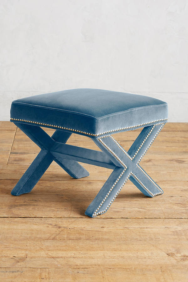 Anthropologie Anthropologie Velvet Wilmette Ottoman