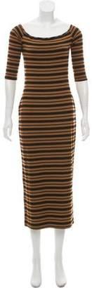 Torn By Ronny Kobo Striped Midi Dress