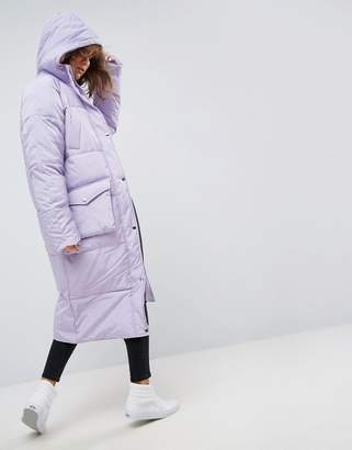 Asos DESIGN Longline Puffer Jacket with Pocket Detail