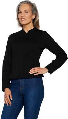 Isaac Mizrahi Live! Knit Jacquard Snap Front Jacket