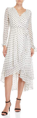 Betsey Johnson Polka Dot Long Sleeve Wrap Dress
