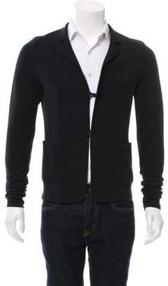 Giuliano Fujiwara Mandarin Collar Rib Knit Cardigan