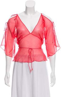 Miguelina Silk Cropped Top