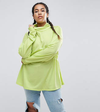 Asos Sweatshirt With Roll Neck In Neon