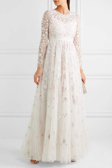 Needle & Thread - Rosette Embellished Embroidered Tulle Gown - Ivory 4