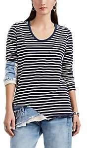 Greg Lauren Women's Christian Mixed-Media Slim Long-Sleeve T-Shirt - Navy
