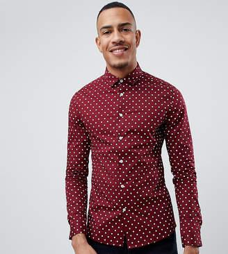 Asos Design DESIGN Tall skinny fit polka dot shirt in burgundy
