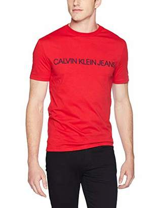 Calvin Klein Men's Short Sleeve T-Shirt Basic Logo Crew Neck