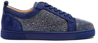 Christian Louboutin Louis Strass Embellished Low Top Leather Trainers - Mens - Blue