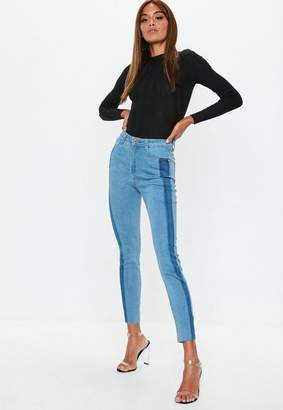 Missguided Blue Shadow Side Panel Jeans
