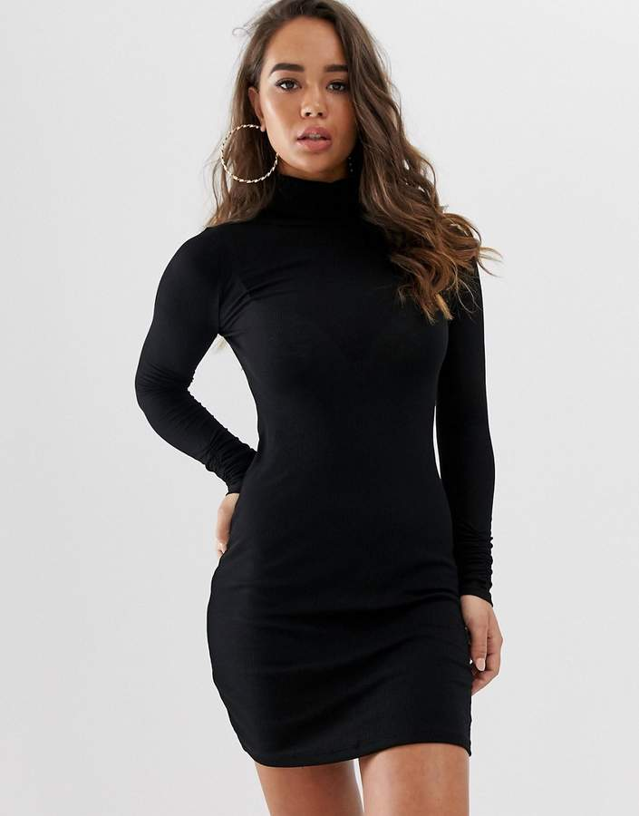 ASOS DESIGN high neck rib bodycon mini dress with long sleeves