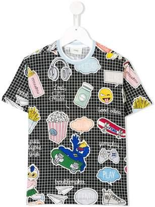 Fendi multi-prints checked T-shirt